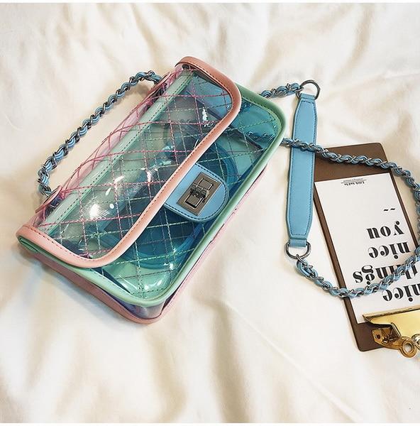 Chaîne Épaule Messenger Par Flap 2018 Sac Bandoulière Embrayage Dhl 20 Classique Sacs Petite Pcs Exquis Transparent Élégant Vert rose qSUzMVp