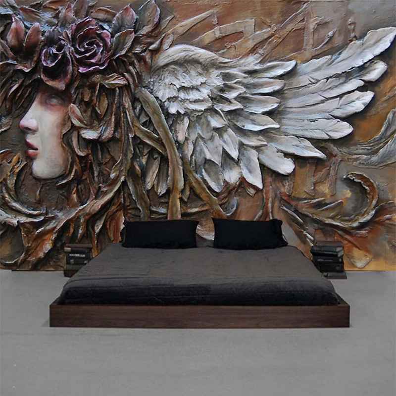 Custom Mural Wallpaper 3D Stereo Relief Angel Figure Wall Painting Living Room Bedroom Cafe European Style Background Wall Decor