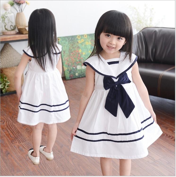 2015 New Style Strip Sailor Dress For Little Girls