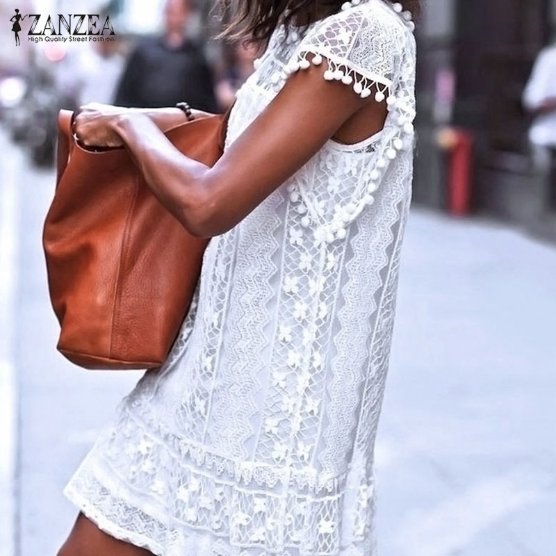 Zanzea Summer Dress 2018 Sexy Women Casual Sleeveless Beach Short Dress Tassel Solid White Mini Lace Dress Vestidos Plus Size 1
