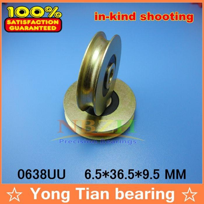 купить High Quality  6mm U Groove steel roller bearings 0638UU 6.5*36.5*9.5 mm bearing 0638 UU по цене 284.37 рублей