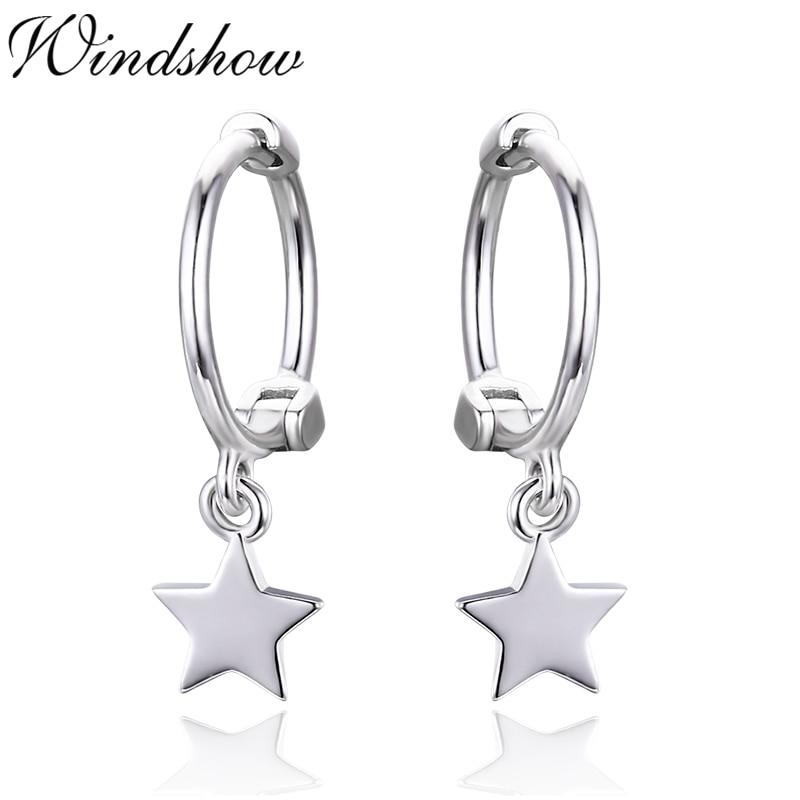 Cute Slim 925 Sterling Silver Star Charm Ear cartilage ...