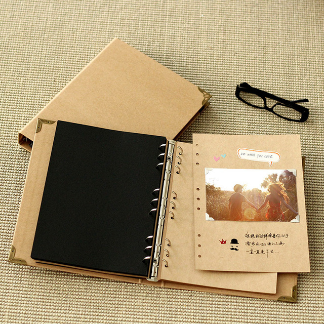 Bien-aimé B5 Kraft 9 Hole Looseleaf Notebook Blank Polaroid DIY Paste Kraft  ZG68