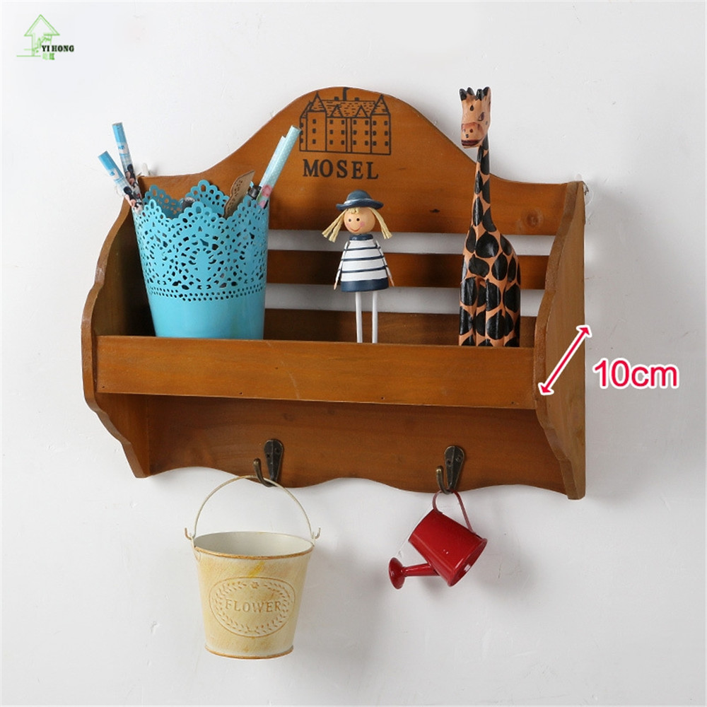 Retro wooden wall shelf organizer key hooks ornament display rack retro wooden wall shelf organizer key hooks ornament display rack shop decorations interior display stand small object rack in storage holders racks from amipublicfo Images