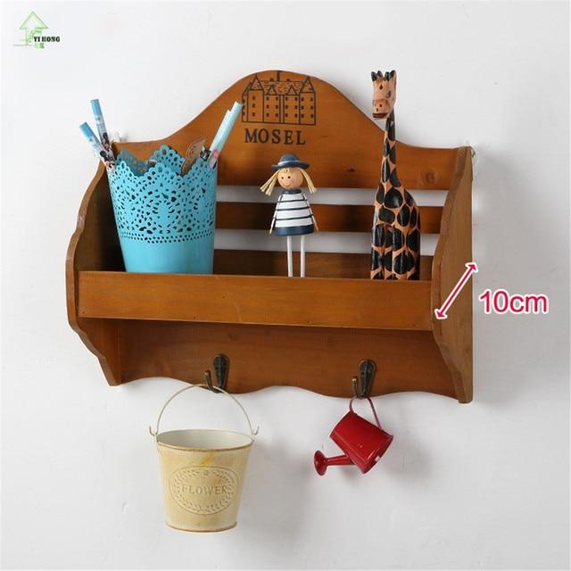 Retro Wooden Wall Shelf Organizer Key Hooks Ornament Display Rack Decorations Interior Stand Small Object
