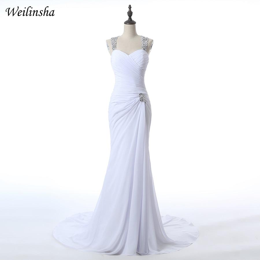 Weilinsha Sexy High Slit Chiffon Wedding Dresses 2019 Halter Neck Vestidos de Novia Delicate Hand Beaded