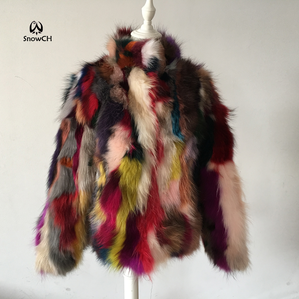 Free Shipping New Genuine Raccoon Fur Coat Women Raccoon Fur Jacket Colorful Fur Customized Big Size F871