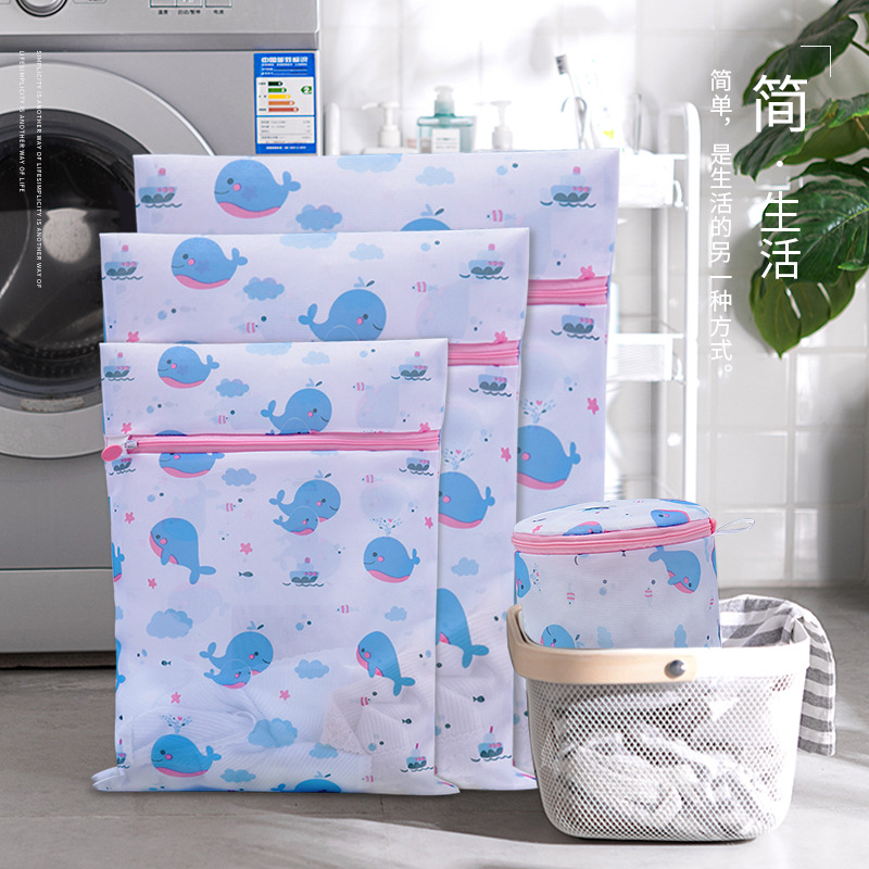 6pcs/pack Fine Mesh Laundry Bag Special Bra Wash Bag Printing Clothes Laundry Bag Machine Wash Net Bag