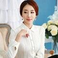 Мода одежда 2016 весной белой рубашки женщины с длинными рукавами тонкий женская блузка рабочая одежда формальный офис Большой размер шифон топы