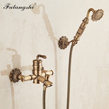 Bathroom Shower Faucet Euro Antique Bronze Bathtub Shower Set Faucets Wall Mount Rainfall Shower Hand Held Mixer Taps WB1602