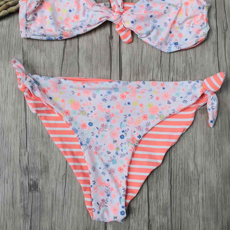 5-12 年の女の子水着子供プリント幼児ガールビキニセットボウノット子供の水着子供女の子水着水着