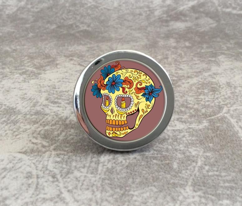 Cupboard Knobs Flower Skull Knobs Handmade Drawer Handles Dresser Pulls Handles / Cabinet Knobs Kitchen Hardware css clear crystal glass cabinet drawer door knobs handles 30mm
