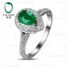 CaiMao 0.68 ct Natural Emerald 18KT/750 White Gold 0.45 ct Full Cut Diamond Engagement Ring Jewelry Gemstone