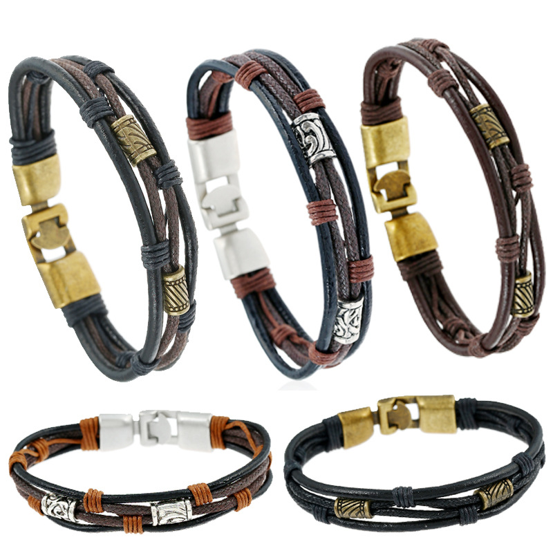 Phesee Fashion Vintage 5 Styles Handmade Knitting Cowhide Leather Bronze alloy Bracelets Men Jewelry Gift