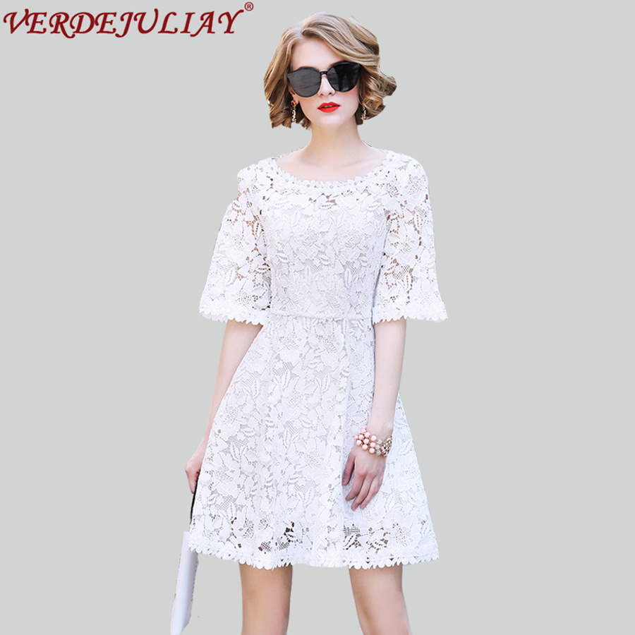 High Street Dresses Fashion Lady Hollow Out Embroidery 2018 Spring Diamonds Noble New Top Grade White / Pink Mini Dress