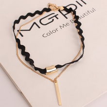 HOMOD 2017 Hot Sale Gold color link chain & Black Braid Double Layer Rectangle Chokers Necklaces For Women Girl Jewelry Gift chic rhinestone round pendant embellished black double chokers chain for women