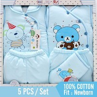 5 piece newborn baby set boy clothes 100% cotton infant suit baby girl clothes outfits pants baby clothing hat bib ropa de bebe