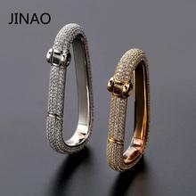 JINAO хип хоп на заказ Iced Out Карабин брелок золотой цвет серебра талисман ювелирные изделия твердая медь с AAACZ брелок мужские подарки