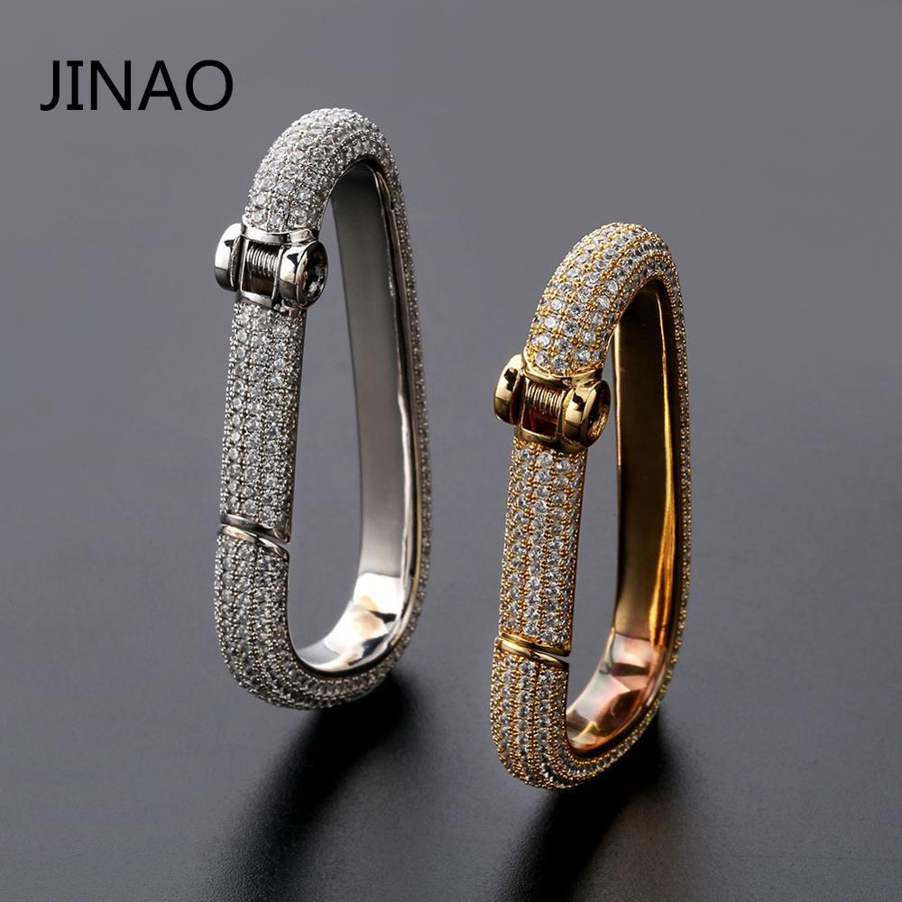 JINAO nouveau Hip Hop personnalisé glacé mousqueton porte-clés or argent couleur charme bijoux en cuivre massif avec AAACZ porte-clés hommes cadeaux