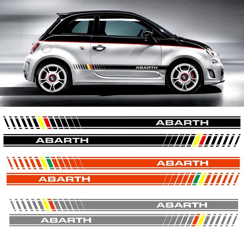 For Fiat 500 Abarth Bi Color Custom Side Stripe Decal / Sticker  Da4-0012