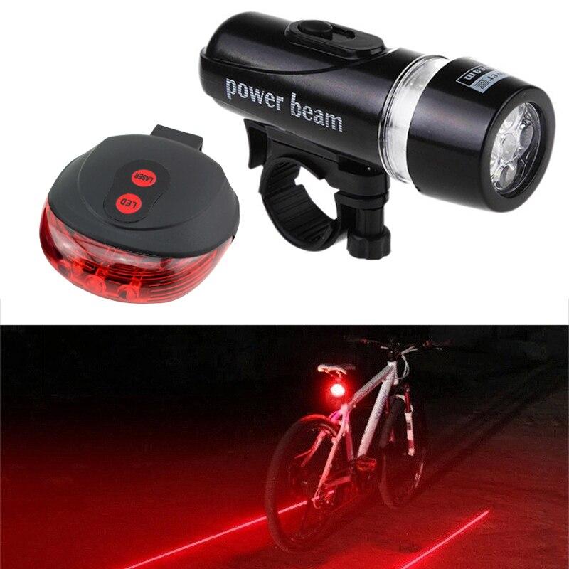 MTB Bike Headlight Taillight Set Waterproof Flashlight Lamp for Bicycle Black