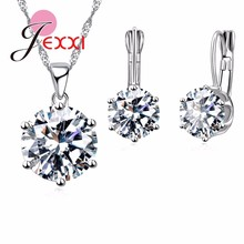 ФОТО giemi 2018 925 sterling silver jewelry sets 17colors cubic zirconia pendant necklace earring fashion jewelry for women set gifts