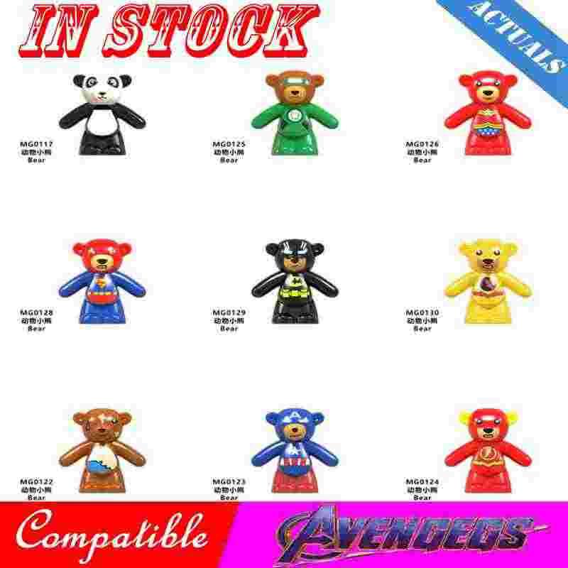 Legoing животные мстители Супер Герои медведь Капитан Америка Человек-паук флэш Мультфильм фигурки героев фильмов блоки игрушки Супергерои Legoings