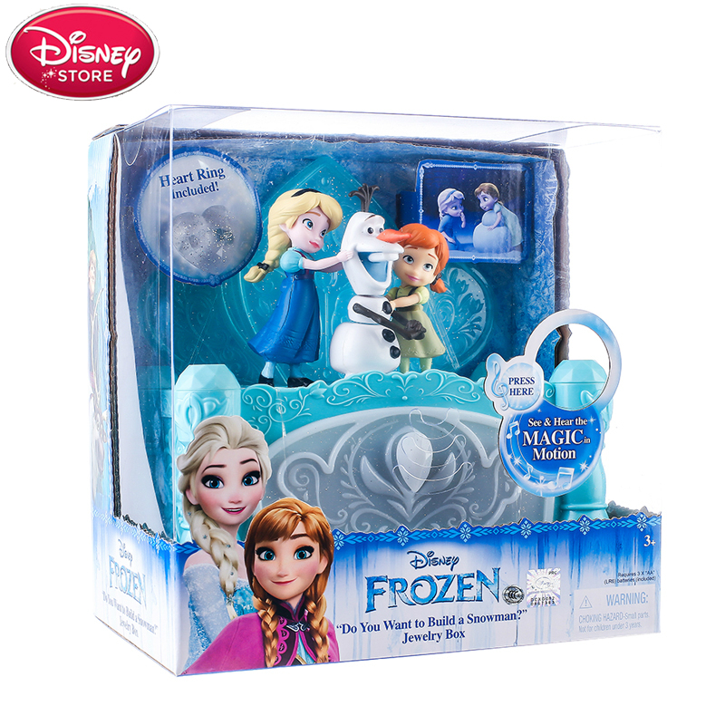 цена Disney Frozen Music Jewelry Box Princess Elsa Anna Olaf Action Figures Model Disney Toys for Baby Kids Girls Birthday Gift