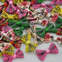 30pcs tartan plaid Gingham Ribbon Bows Flower Appliques Lots Upick B234