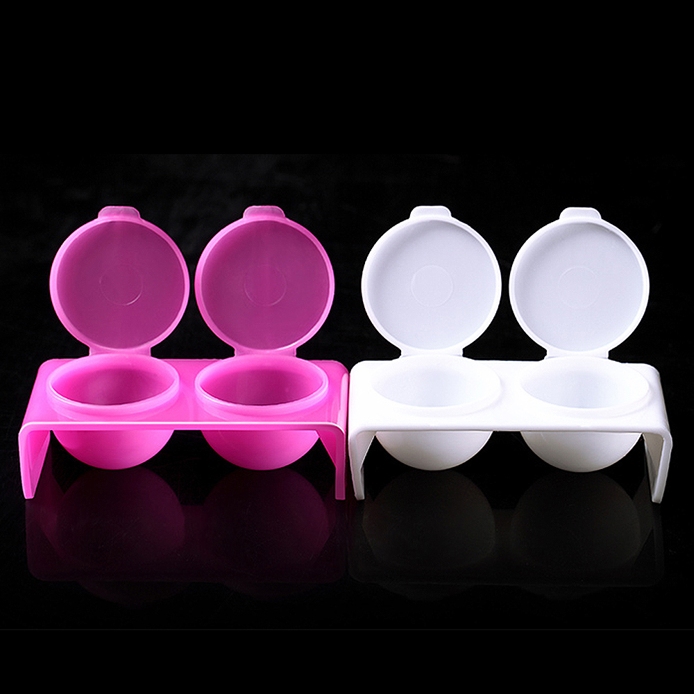 ZINXIN 1Pc Plastic Double Dish Bowl Cup With Cover Cap Liquid Glitter Acrylic Powder Clean Nail Pen Wash Caviar Styling Tools