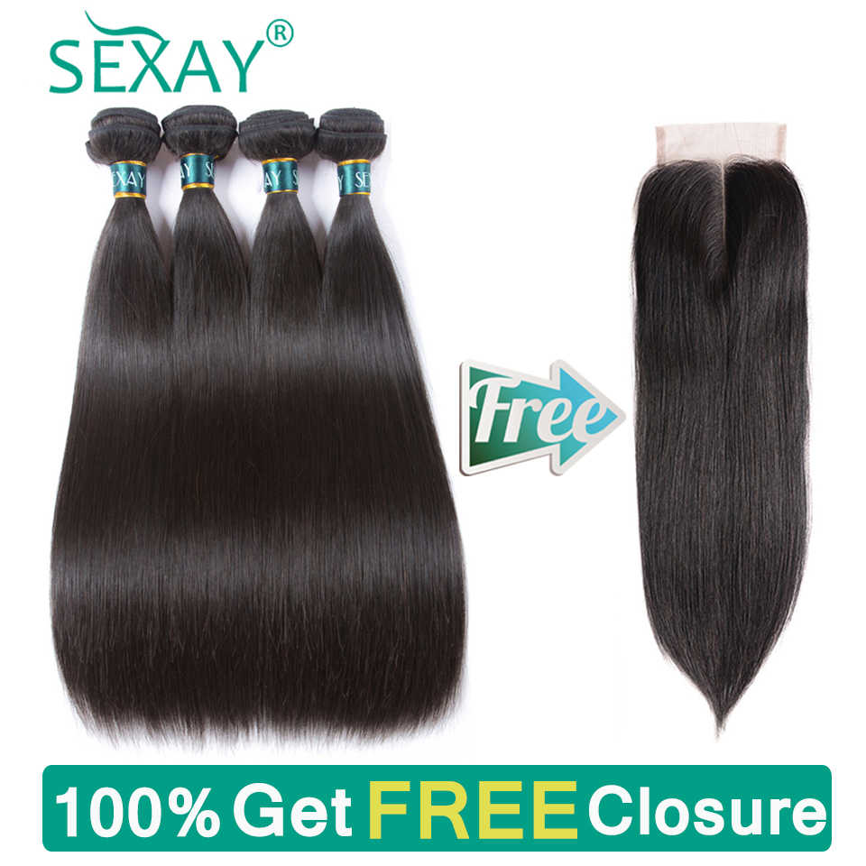Brazilian Straight Hair Bundles 4 Pcs Human Hair Weave Sexay 100% Human Hair Weave Bundles Non Remy Hair Extensions