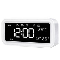 Led Mirror Alarm Clock Digital Snooze Table Clock Wake Up Light Electronic Large Time Temperature Display Home Decoration Cloc