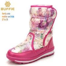 Botas de invierno botas de nieve de las mujeres manera de la señora botas cálidas botas a prueba de agua de marca de alta calidad de madre e hija BUFFIE estilo bueno