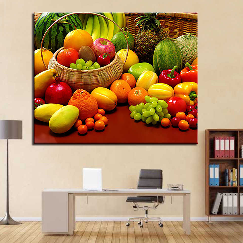 By Numbers DIY Painting Wall Art Acrylic Kits Drawing Fruits And Vegetables On Canvas Framework For Kitchen Decor Canvas Picture