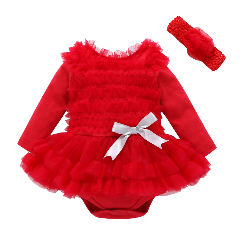 все цены на baby girls long sleeve romper lace tutu dress with headband cute style clothing set red purple pink christmas party dress