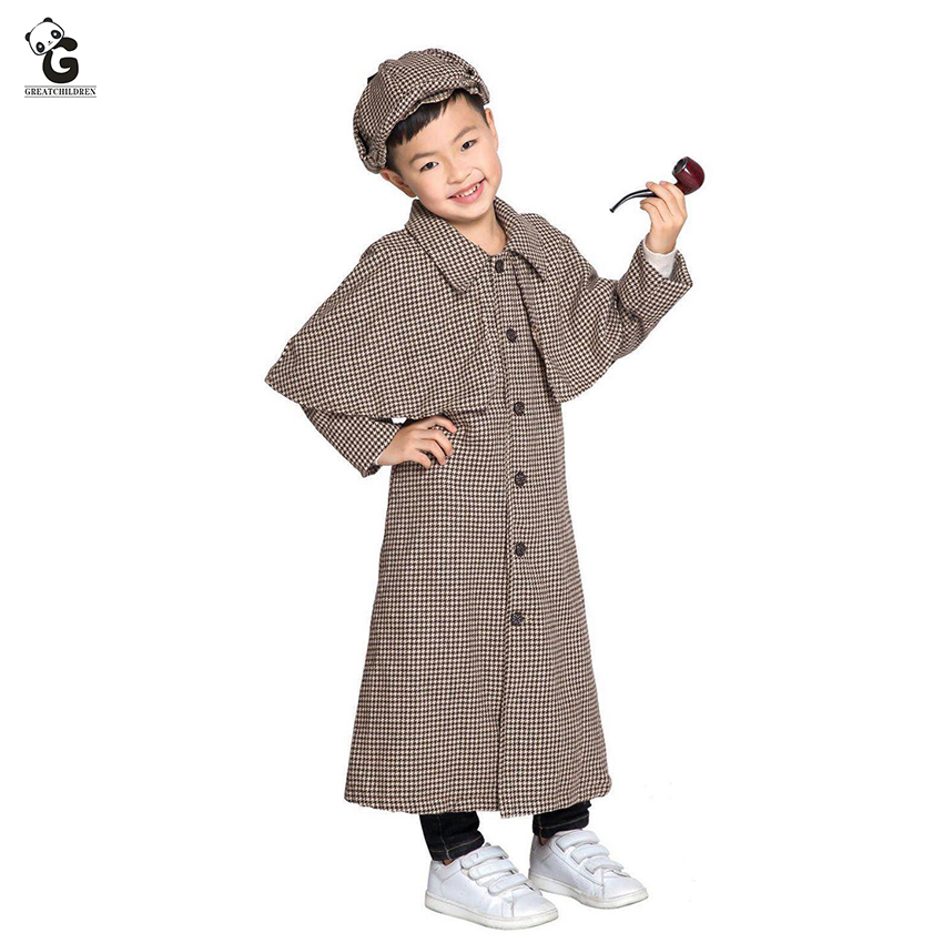 Kids Costumes Sherlock Holmes Costumes Boys Fancy Dress Halloween Costume For Kids Sherlock Holmes Plaid Coat With Cap/Pipe