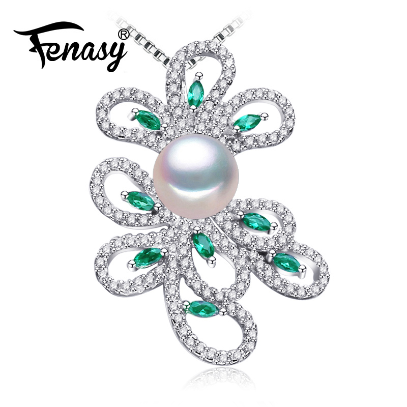 FENASY 925 sterling silver phoenix necklace,pearl jewelry chain necklace,Pearl necklaces & pendants Emerald Bohemian necklace цена 2017
