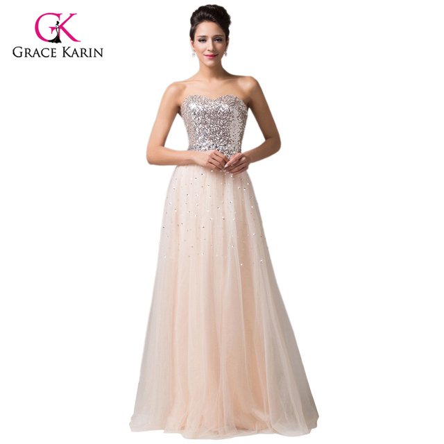 a5fee4e97f4ad Grace Karin A-Line Floor-Length Sequins and Beaded Sexy Long Evening Dress  pregnant Prom Gown Pregnant Dress vestido longo 6109