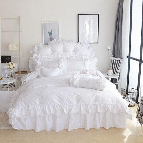 Pure White Color Princess King Queen Twin Women Girls Bedding Set Bed Skirt set Duvet/Quilt cover 3/4Pcs Decorative Pillow Shams