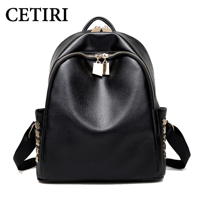 CETIRI Side Hexagon Rivet Backapck Black Rivet Gold Zipper Casual Bag Backpack School Bag Designer Book Bags Women Shoulder Bag