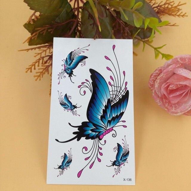 Waterproof Temporary Tattoo Sticker 3d Blue Flying Butterfly Tattoo