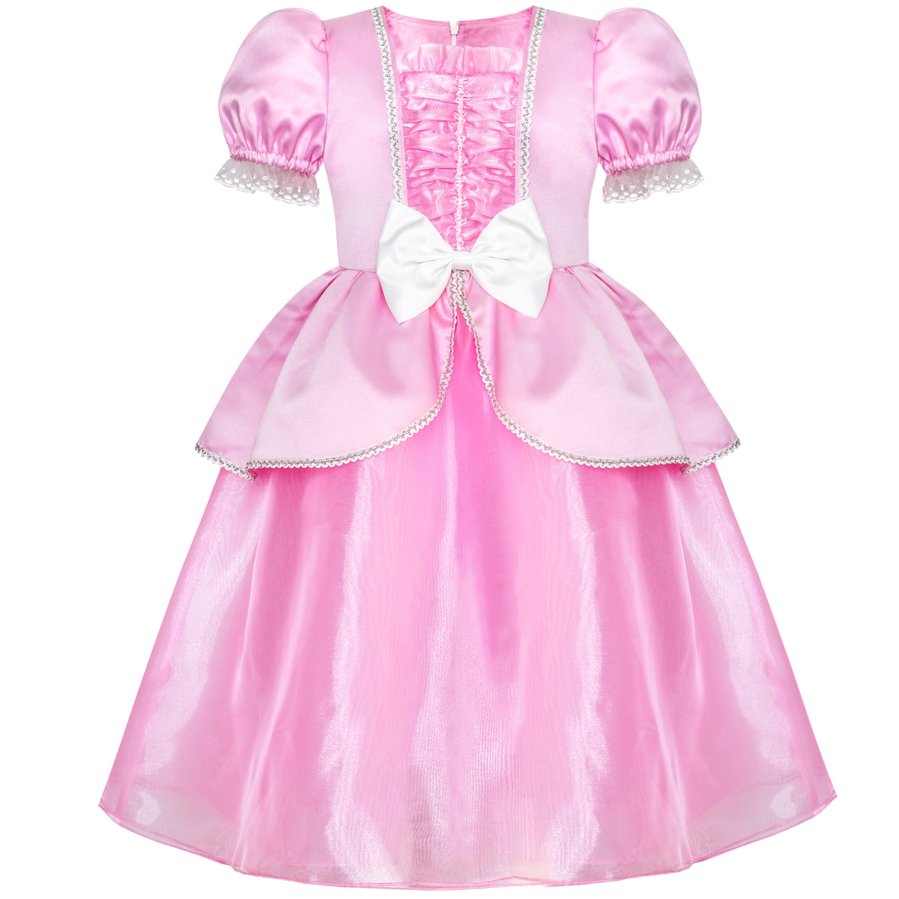 Girls Dress Pink Princess Cosplay Costume Dress Up Party 2018 Summer Wedding Dresses Girl Clothes Size 6 12