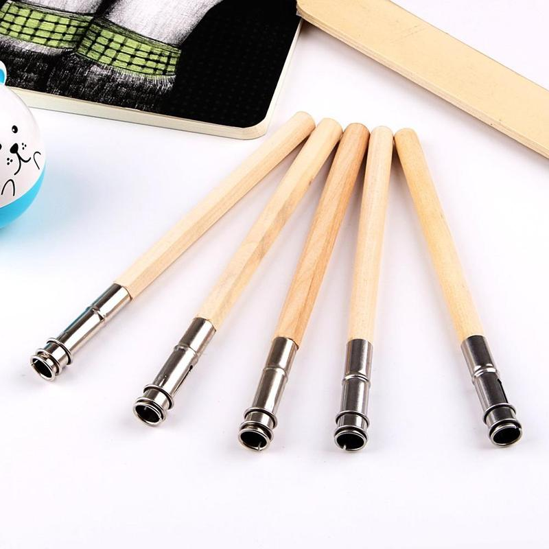 1pc Wood Rod Single Head Pencil Extender Sketch Art Painting Long Pen Holder Painting Drawing Tool School Office Supplies