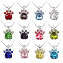 Cat Paw Birth stone Pendant Necklace Multicolor Crystal Rhinestone Dog Claw  12 Months Necklace Animal Pet Jewelry Birthday gift c3a0faa5a145