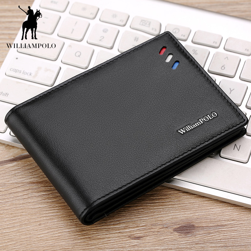 WILLIAMPOLO 2018 Purse For Men Genuine Leather Men's Wallets Thin Male Wallet Card Holder Cowskin Soft Mini Purse POLO315 2018 new thin wallet men genuine leather mini wallet men s purse card holder male little wallet soft leather slim purse black