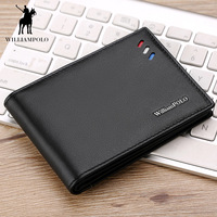 WILLIAMPOLO Purse For Men Genuine Leather Men's Wallets Thin Male Wallet Card Holder Cowskin Soft Mini Purse PL315