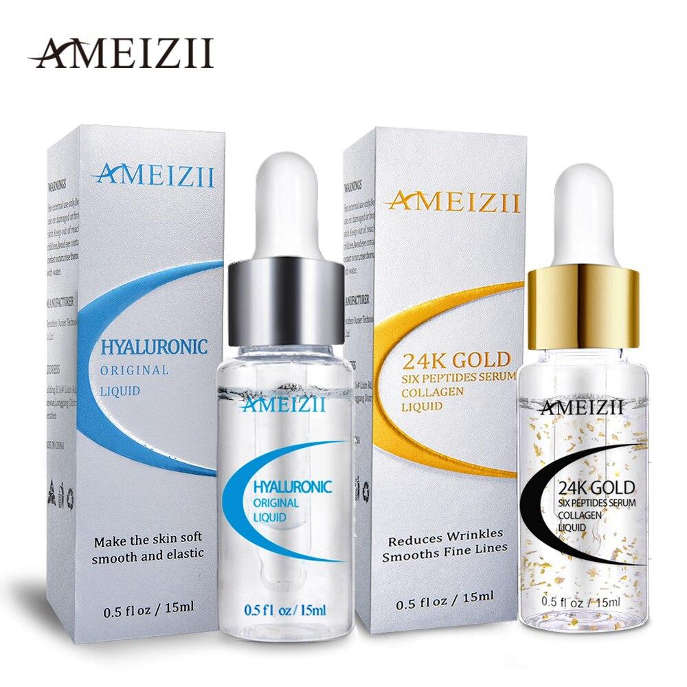 AMEIZII 24K Gold Six Peptides Hyaluronic Acid Serum Moisturizing Anti Wrinkle Whitening Skin Care Repair Essence Suero Facial
