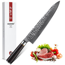 HEZHE Kitchen Knife 9.5'' Pro Chef Knives Japanese VG 10 Damascus Stainless Steel Fish Meat Carving Slicing Knife Ebony Handle