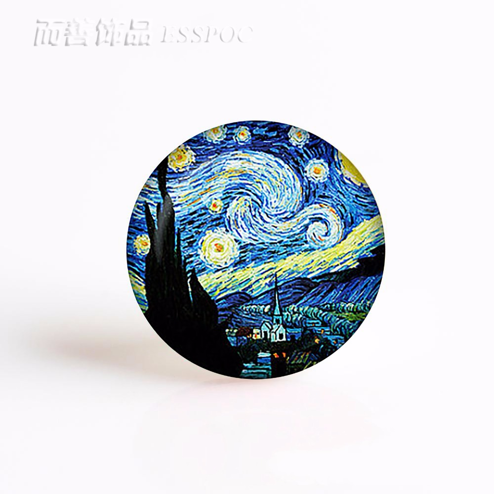 Van Gogh Oil Painting Round 25mm Glass Cabochon Handmade Jewelry Supplies for Pendant Bracelet Making hand painted famous oil painting the bedroom at arles c 1887 of vincent van gogh multicolored