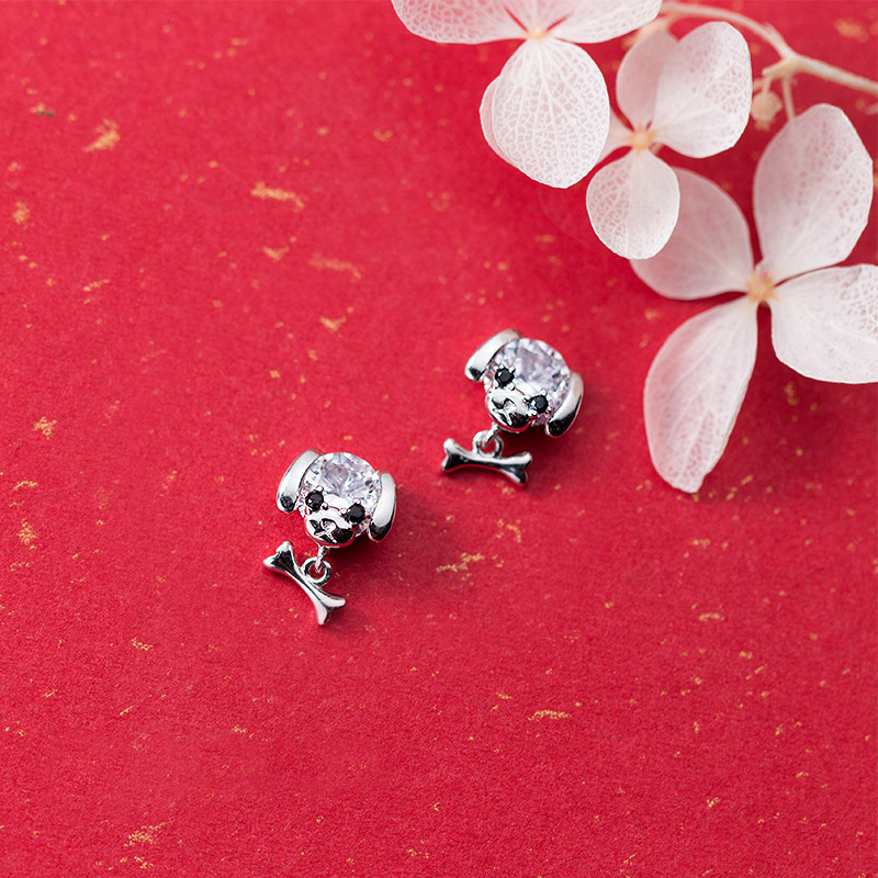 MloveAcc 925 Sterling Silver Animal Design Zircon Cute Puppy Stud Earrings Girls Anti Al ...